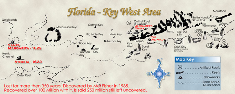Florida Shipwrecks Map.Atocha Certificate Of Authenticity Treasure Map And Wreck Story